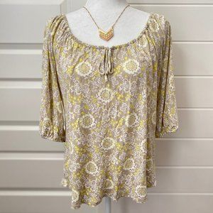 Old Navy Tan & Yellow Floral Blouse